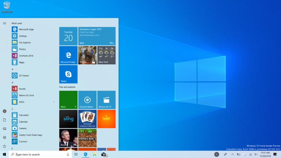 Screenshot of an Azure Hosted Desktop running Windows 10