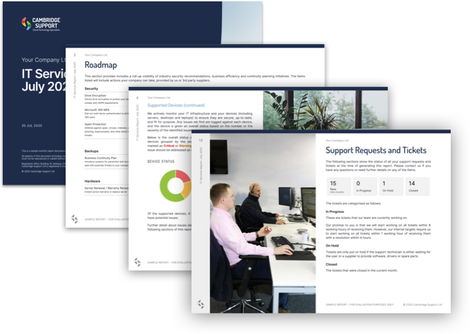 Example of our monthly reports